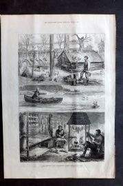 ILN 1880 Antique Print. Fur Trappers in the Backwoods of Canada